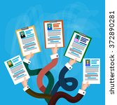 hands group hold cv profile... | Shutterstock .eps vector #372890281