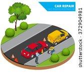 roadside assistance car. man... | Shutterstock .eps vector #372904981