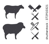 black silhouettes of a sheep... | Shutterstock .eps vector #372910321