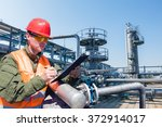 engineer writing on the paper... | Shutterstock . vector #372914017