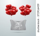 8 March. International Women Day. Vector Illustration Of Flying Heart Balloons And Holiday Lettering.