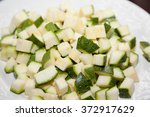 closeup of chopped zucchini on... | Shutterstock . vector #372917629