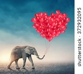 elephant going with red... | Shutterstock . vector #372932095