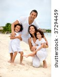 portrait of a happy family at... | Shutterstock . vector #37294459