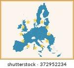 vintage map of european union... | Shutterstock .eps vector #372952234