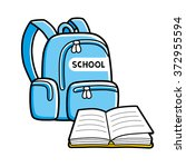 school bag and an open book. | Shutterstock .eps vector #372955594
