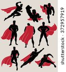 set of superhero in 9 different ... | Shutterstock .eps vector #372957919