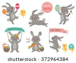 Set Of Cute Easter Rabbits Wit...