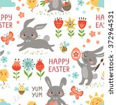 cute easter seamless pattern on ... | Shutterstock .eps vector #372964531