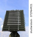 Small photo of All around antenna of the air defense complex, made of phased array technology, on a rotating platform