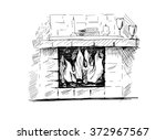 vintage fireplace hand drawn... | Shutterstock .eps vector #372967567