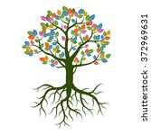 Color Tree Nd Roots. Vector...