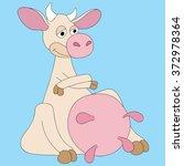 illustration cartoon cow very... | Shutterstock .eps vector #372978364