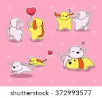 valentine dog cartoon stroke... | Shutterstock .eps vector #372993577
