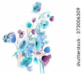 watercolor abstract floral... | Shutterstock . vector #373006309