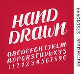 hand drawn alphabet vector font.... | Shutterstock .eps vector #373010944