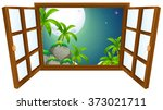 window view with mountain at... | Shutterstock .eps vector #373021711