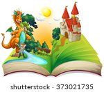 book of dragon and knight ... | Shutterstock .eps vector #373021735