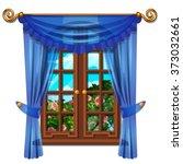 the window overlooking the rose ... | Shutterstock .eps vector #373032661