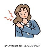 office lady   hurts shoulder | Shutterstock . vector #373034434