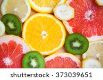 citrus fruit background with a... | Shutterstock . vector #373039651