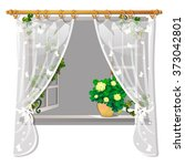 open window with flowers on the ... | Shutterstock .eps vector #373042801