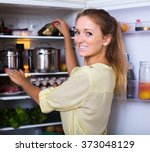 cheerful smiling girl searching ... | Shutterstock . vector #373048129