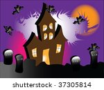 a haunted house with bats under ... | Shutterstock . vector #37305814
