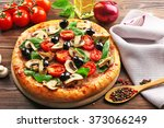 delicious tasty pizza with... | Shutterstock . vector #373066249