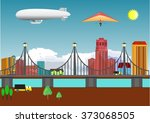 city buildings view vector... | Shutterstock .eps vector #373068505