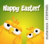 tow yellow cute cartoon chicks...   Shutterstock .eps vector #373093681