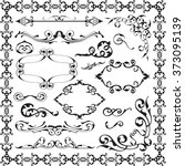 baroque graphic art set... | Shutterstock .eps vector #373095139