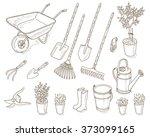 garden tools set. | Shutterstock .eps vector #373099165