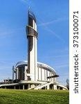 Small photo of KRAKOW, POLAND - FEBRUARY 7, 2016: The Divine Mercy Sanctuary, Roman Catholic basilica dedicated to Divine Mercy devotion, as the resting place of Saint Faustina Kowalska, Krakow, Poland.
