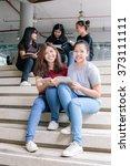 group of happy teen high school ... | Shutterstock . vector #373111111