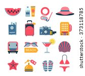 set of flat color vector icons... | Shutterstock .eps vector #373118785
