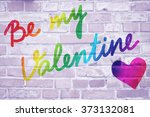 Small photo of St. Valentine's day. Text on the wall