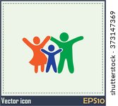 happy family icon in simple... | Shutterstock .eps vector #373147369