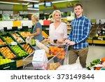happy customers purchasing... | Shutterstock . vector #373149844