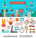 fitness banner horizontal   Shutterstock . vector #373150315