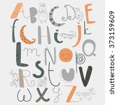 vector alphabet with cute... | Shutterstock .eps vector #373159609