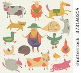 vector set of farm animals with ... | Shutterstock .eps vector #373160359