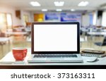 front view of the laptop and... | Shutterstock . vector #373163311