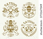 tattoo studio or salon set of... | Shutterstock .eps vector #373167049