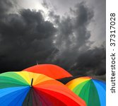 Rainbow Colored Umbrellas And...