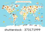 animals world map. colorful... | Shutterstock .eps vector #373171999
