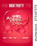 valentines day party flyer with ... | Shutterstock .eps vector #373187575