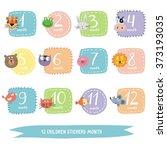 children sticker month. funny... | Shutterstock .eps vector #373193035