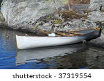 Canoe and duck - stock photo