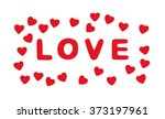 red title love with hearts on... | Shutterstock . vector #373197961